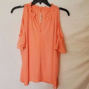 RACHEL Rachel Roy Melon Cold Shoulder Top SZ L